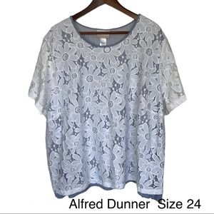 Alfred Dunner Lace Overlay Blouse Size 24